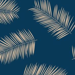 Large palm leaves minimalist tropical island vibes boho garden navy blue ivory JUMBO
