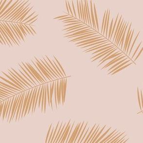 Large palm leaves minimalist tropical island vibes boho garden blush pink caramel beige JUMBO