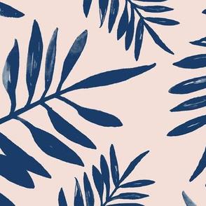 Tropical watercolor palm leaves garden summer boho love nursery navy blue blush ivory JUMBO