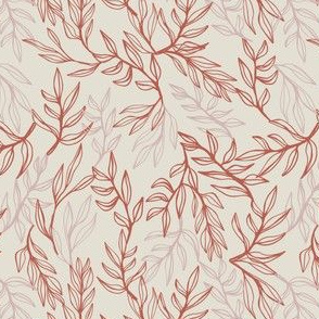 Hand drawn leaves in pink and coral on off-white