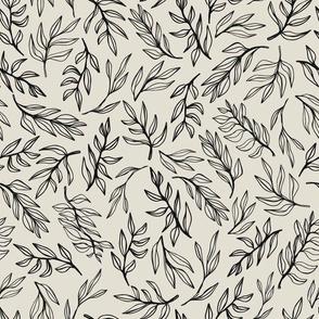 Monochrome hand drawn leaves