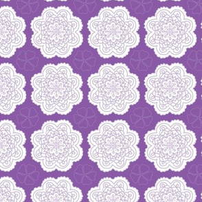Deep Purple with White Doilies Geometric