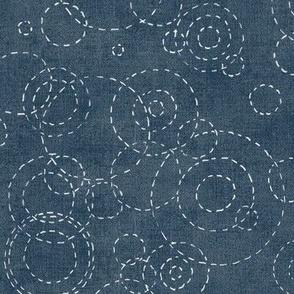 Sashiko Rain in Indigo Blue (xl scale)   Raindrops, rainstorm, Japanese sashiko stitching ripples on water, fresh and calm decor in vintage blue, kantha quilt.