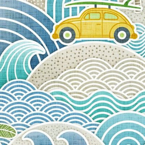 Sea, Sun and Surf Large- Beach Life- Surfing Life- Surfboard- Vintage Cars- Summer- Large Scale- Boys- Home Decor