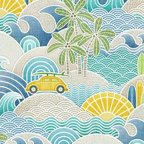 Sea, Sun and Surf Small- Beach Life- Surfing Life- Surfboard- Vintage Cars- Summer- Small Scale- Face Mask- Boys