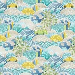 Sea, Sun and Surf Mini- Beach Life- Surfing Life- Surfboard- Vintage Cars- Summer- Small Scale- Face Mask- Boys