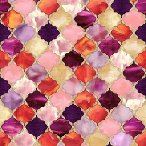 Floral Watercolor Moroccan Tile gold, purple, orange