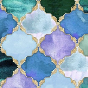 Floral Watercolor Moroccan Tile aqua