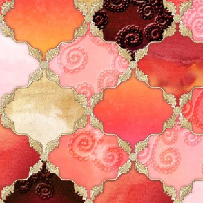 Romantic Curly Floral Moroccan Tile gold, purple, orange, pink