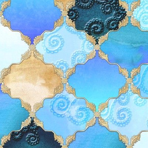Romantic Curly Floral Moroccan Tile gold, aqua