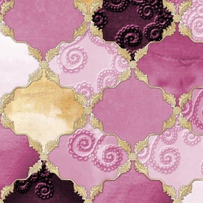 Romantic Curly Floral Moroccan Tile gold, purple a