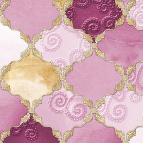 Romantic Curly Floral Moroccan Tile gold, purple b