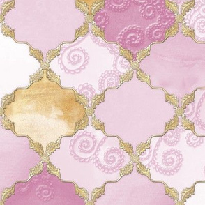 Romantic Curly Floral Moroccan Tile gold, purple c