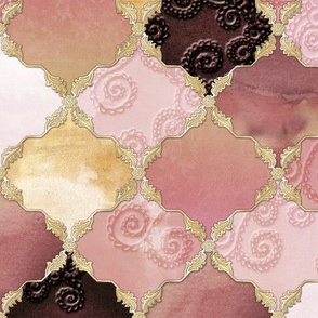 Romantic Curly Floral Moroccan Tile gold, rosepink