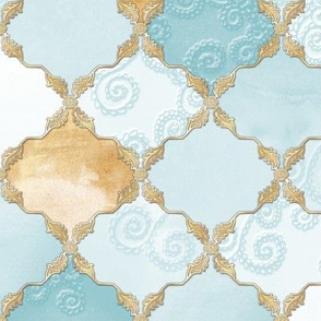Romantic Curly Floral Moroccan Tile light turquoise