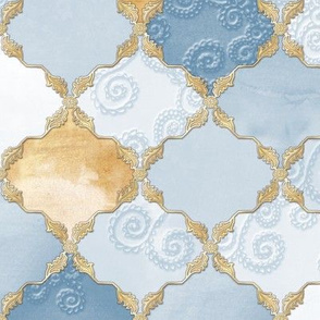 Romantic Curly Floral Moroccan Tile light blue