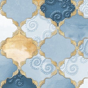 Romantic Curly Floral Moroccan Tile blue