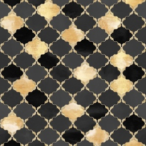 Floral Watercolor Moroccan Tile black, gold