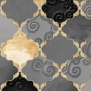 Romantic Curly Floral Moroccan Tile grey, gold