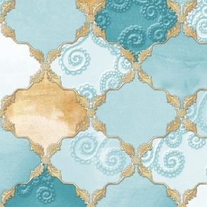Romantic Curly Floral Moroccan Tile turquoise