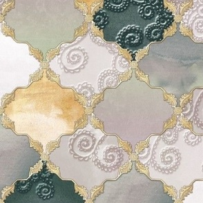 Romantic Curly Floral Moroccan Tile independent