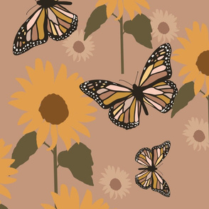 Butterfly and sunflowers, retro girl print, retro nursery, butterfly nursery, retro nursery