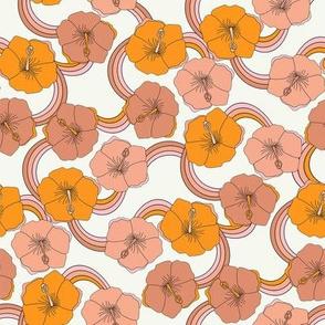 SMALL Hibiscus rainbow fabric - retro 70s floral fabric, vintage Hawaiian print - 70s