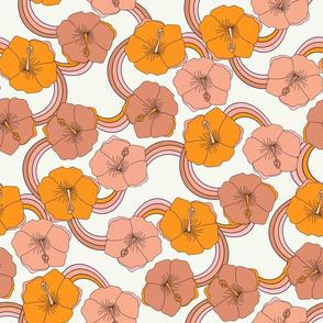 LARGE Hibiscus rainbow fabric - retro 70s floral fabric, vintage Hawaiian print - 70s