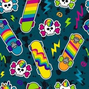 Rainbow Skater Skulls - Small