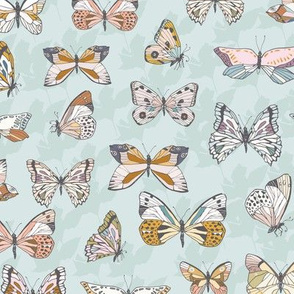 Eden Butterflies (light blue) MED