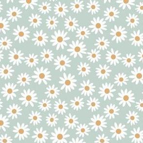 SMALL daisy print fabric - daisies, daisy fabric, baby fabric, spring fabric, baby girl, earthy - sage