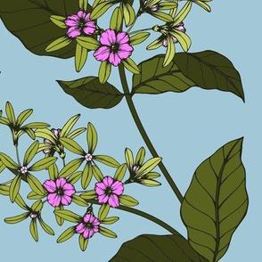 Pink Floral Olive Green Vines II