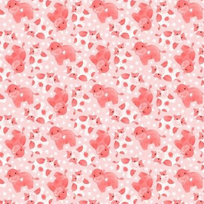 Cute Cows with Ditsy Daisies - strawberry milkshake pink - tiny