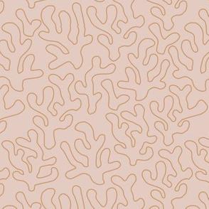 Summer coral outline strokes abstract boho minimalist ocean theme island vibes nursery seventies camel cinnamon beige