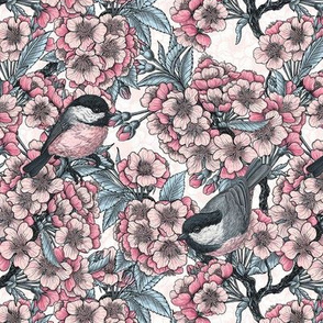 Cherry blossom and chickadee birds, tiny size