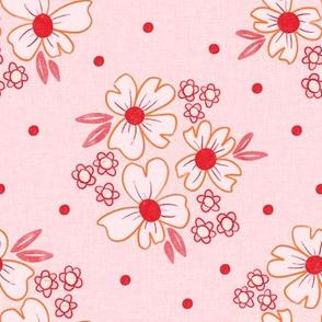 Red Linen Florals