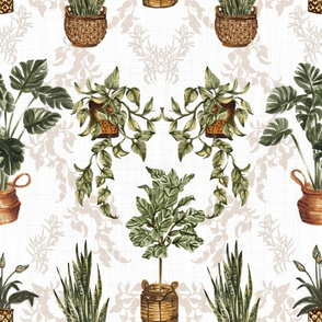 My Green Space Damask (White)
