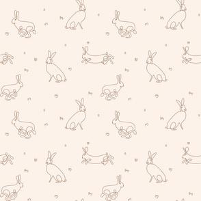 rabbit line-drawing brown on beige