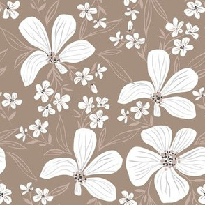 flowers white on brown