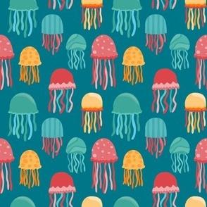 Rainbow Watercolor School of Fish
