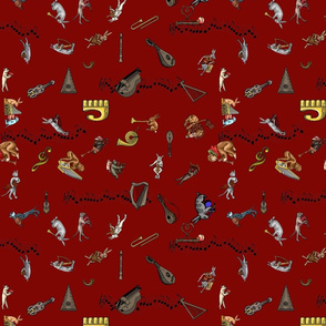 Medieval Animals Playing Music small red