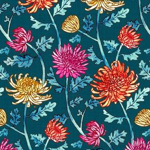 Chrysanthemum Watercolor & Pen Pattern - Navy - Large Scale