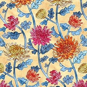 Chrysanthemum Watercolor & Pen Pattern - Cream - Large Scale