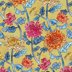 Chrysanthemum Watercolor & Pen Pattern - Mustard - Large Scale