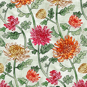Chrysanthemum Watercolor & Pen Pattern - Sage - Large Scale