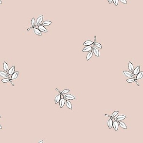 Little delicate spring leaves new life boho garden scandinavian style nursery design blush pale nude white
