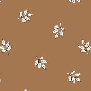 Little delicate spring leaves new life boho garden scandinavian style nursery design copper brown rust white