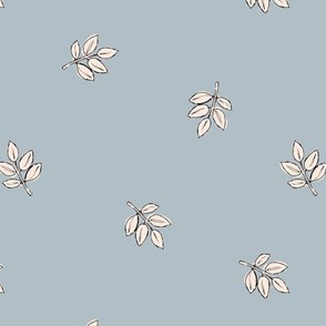Little delicate spring leaves new life boho garden scandinavian style nursery design soft blue ivory white