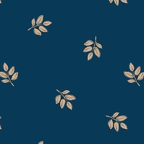 Little delicate spring leaves new life boho garden scandinavian style nursery design navy blue ivory beige