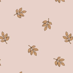 Little delicate spring leaves new life boho garden scandinavian style nursery design pale beige blush cinnamon ochre